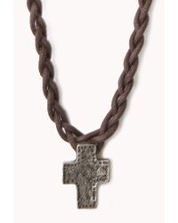 Forever 21 - Brown Braided Cross Necklace for Men - Lyst