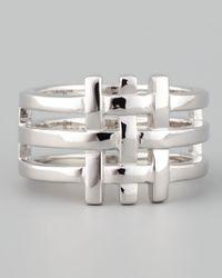Eddie Borgo - Metallic Gridline Ring Silver for Men - Lyst