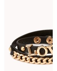 Forever 21 | Metallic Edgy Faux Leather Wrap Bracelet | Lyst