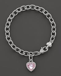 Judith Ripka | Metallic Single Heart Pink Crystal Charm Bracelet | Lyst