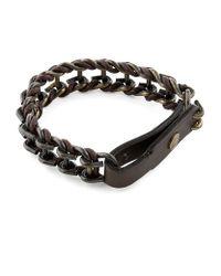 Lanvin | Black Leather and Metal Chain Bracelet for Men | Lyst