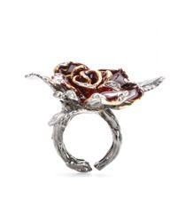 Roberto Cavalli - Pink Embellished Rose Ring - Lyst