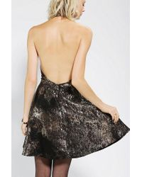 Urban Outfitters - Knt By Kova T Backless Metallic Halter Dress - Lyst