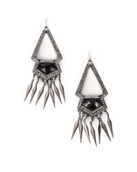 Alexis Bittar - Black Onyx Marcasite and Lucite Fringe Earrings - Lyst