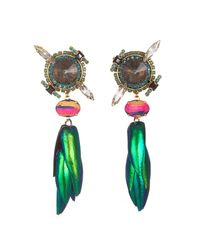 Erickson Beamon | Green Leaf Earrings | Lyst