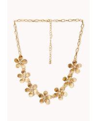 Forever 21 | Metallic Garden Goddess Floral Necklace | Lyst
