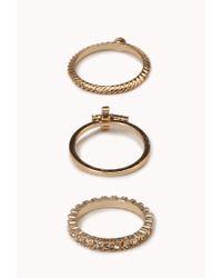 Forever 21 - Metallic Twisted Rhinestoned Cross Ring Set - Lyst