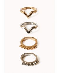 Forever 21 - Metallic Chevron Spiked Midi Ring Set - Lyst