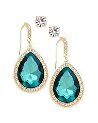 INC International Concepts - Blue Goldtone Green Stone and Pave Edge Teardrop and Round Clear Crystal Stud Earrings - Lyst