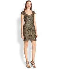 Kay Unger | Brown Embellished Capsleeve Dress | Lyst