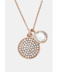 MICHAEL Michael Kors | Pink Brilliance Pavé Disc Pendant Necklace | Lyst
