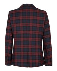 TOPMAN - Blue Burgundy Tartan Skinny Blazer for Men - Lyst