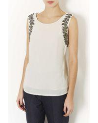 TOPSHOP - Natural Leaf Embellished Vest - Lyst