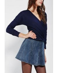 Urban Outfitters - Blue Pins and Needles Ribbed Surplice Top - Lyst