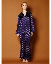 Biba | Purple Paisley Logo Silk Pj Set | Lyst