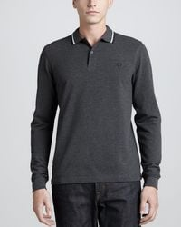 Fred Perry | Gray Long Sleeve Twin Tipped Polo Graphite for Men | Lyst