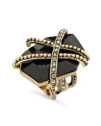Guess - Metallic Ring Gold Tone Caged Jet Stone Ring - Lyst