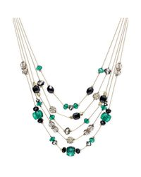 INC International Concepts - Metallic Goldtone Jet and Green Bead Illusion Necklace - Lyst