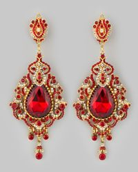 Jose & Maria Barrera | Metallic Teardrop Chandelier Clip Earrings Red | Lyst