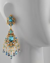Jose & Maria Barrera - Blue Filigree Chandelier Clip Earrings Goldteal - Lyst