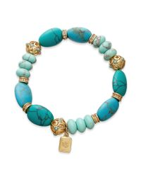 Lauren by Ralph Lauren | Blue 14k Goldplated Reconstituted Turquoise Beaded Stretch Bracelet | Lyst
