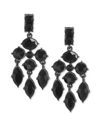 Carolee | Gray Hematitetone Jet Crystal Chandelier Earrings | Lyst