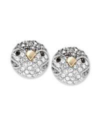 Fossil | Metallic Silver Tone Crystal Penguin Stud Earrings | Lyst