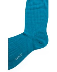Pantherella - Blue Laburnum Ribbed Stretch Socks for Men - Lyst