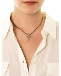 Saint Laurent | Metallic Doublecross Silver Necklace | Lyst