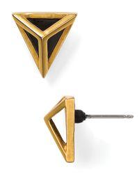 Sam Edelman - Metallic Open Cage Triangular Stud Earrings - Lyst