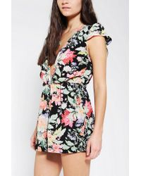 Urban Outfitters - Black Reverse Deepv Floral Romper - Lyst
