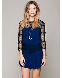 Free People - Blue Caged Heart Dress - Lyst