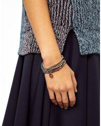 French Connection - Blue Facet Tube Sparkle Bead Stretch Bracelet - Lyst