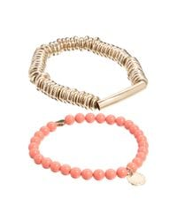 French Connection | Pink 2 Pack Bead Metal Heart Stretch Bracelet | Lyst