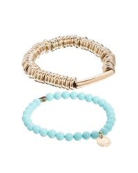 French Connection | Blue 2 Pack Bead Metal Heart Stretch Bracelet | Lyst
