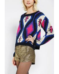 Urban Outfitters | Blue Reverse Intarsia Cropped Sweater | Lyst