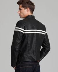 Vince | Black Contrast Stripe Moto Leather Jacket for Men | Lyst