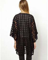 ASOS | Black Kimono in Sheer Grid Fabric | Lyst