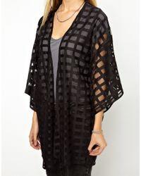 ASOS - Black Kimono in Sheer Grid Fabric - Lyst