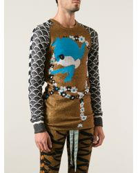 Bernhard Willhelm - Brown Knitted Bird Pullover - Lyst