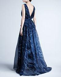 Carolina Herrera - Blue Handpainted Silk Organza Gown - Lyst