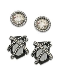 Guess - Gray Earring Set Silvertone Crystal Stud and Caged Black Diamond Crystal Button Earrings - Lyst
