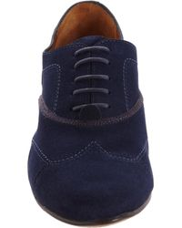 Lanvin - Blue Stitched Wingtip Oxford - Lyst