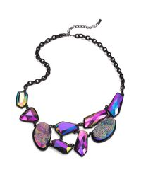 Material Girl - Black Tone Purple Drusy Stone Statement Necklace - Lyst