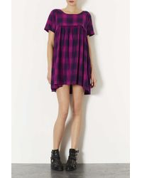 TOPSHOP - Purple Enzyme Check Smock Dress - Lyst