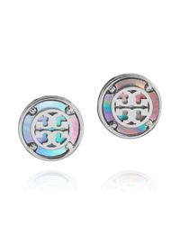 Tory Burch - Gray Wren Logo Button Earrings - Lyst