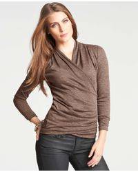 Ann Taylor - Brown Pleated Sweater Jersey Wrap Top - Lyst