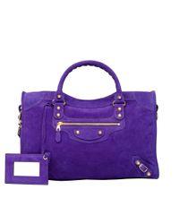 ee62f45a4f Lyst - Balenciaga Baby Daim Giant Gold City Ultra Violet in Purple