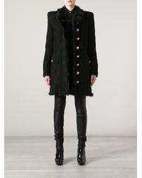 Balmain - Black Fur Trim Military Coat - Lyst