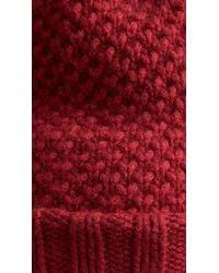 Burberry | Red Fur Pom-pom Beanie | Lyst
